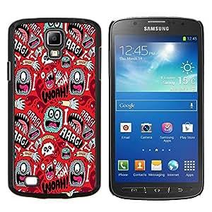 YiPhone /// Prima de resorte delgada de la cubierta del caso de Shell Armor - Wallpaper Mono Ojo colorido Aliens mano del cráneo - Samsung Galaxy S4 Active i9295