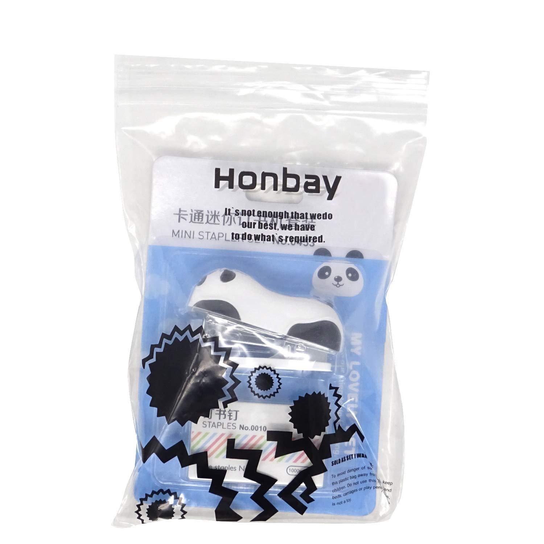 Honbay Portable Mini Cute Panda Desktop Stapler Set with 1000PCS No.10 Staples for Office School Home or Travel Use
