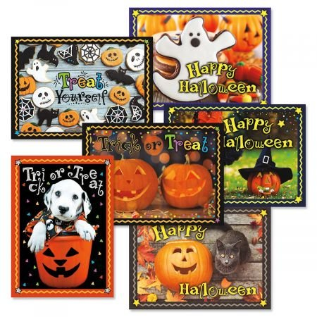 Photo Halloween Cards- Set of 6 Holiday Greeting Cards with Envelopes, 6 Designs with Sentiments, for Trick or Treating, Party Favors ...