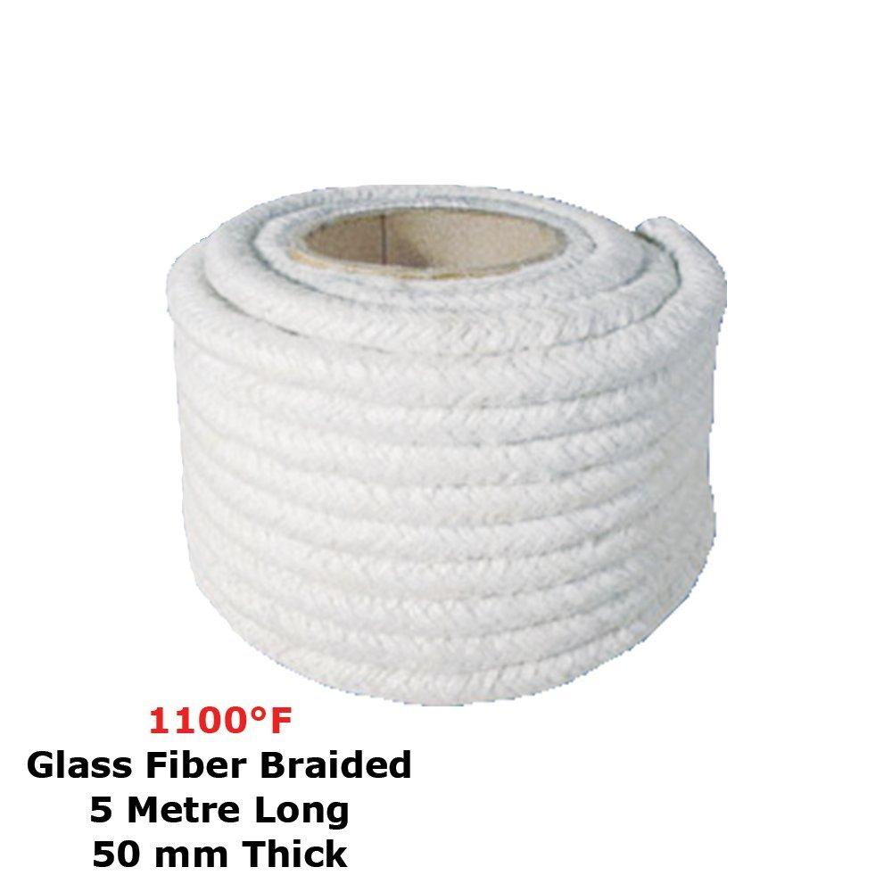 Ceramic Fiber Rope (1100 F, 50 mm) (Glass Fiber Braided) 5 Meter Long Simond Fibertech Limited