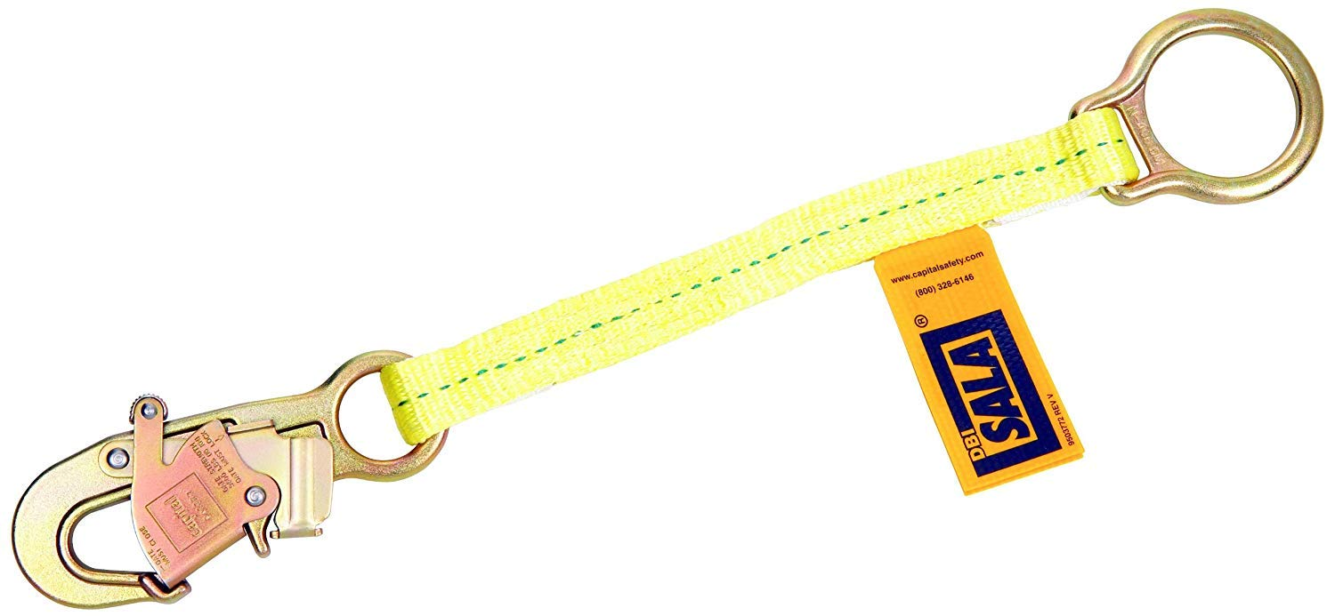 Dbi/Sala 098-1231117 D-Ring Extension Harness Accessory With Self-Locking Snap Hook, 1.5 ft., Yellow