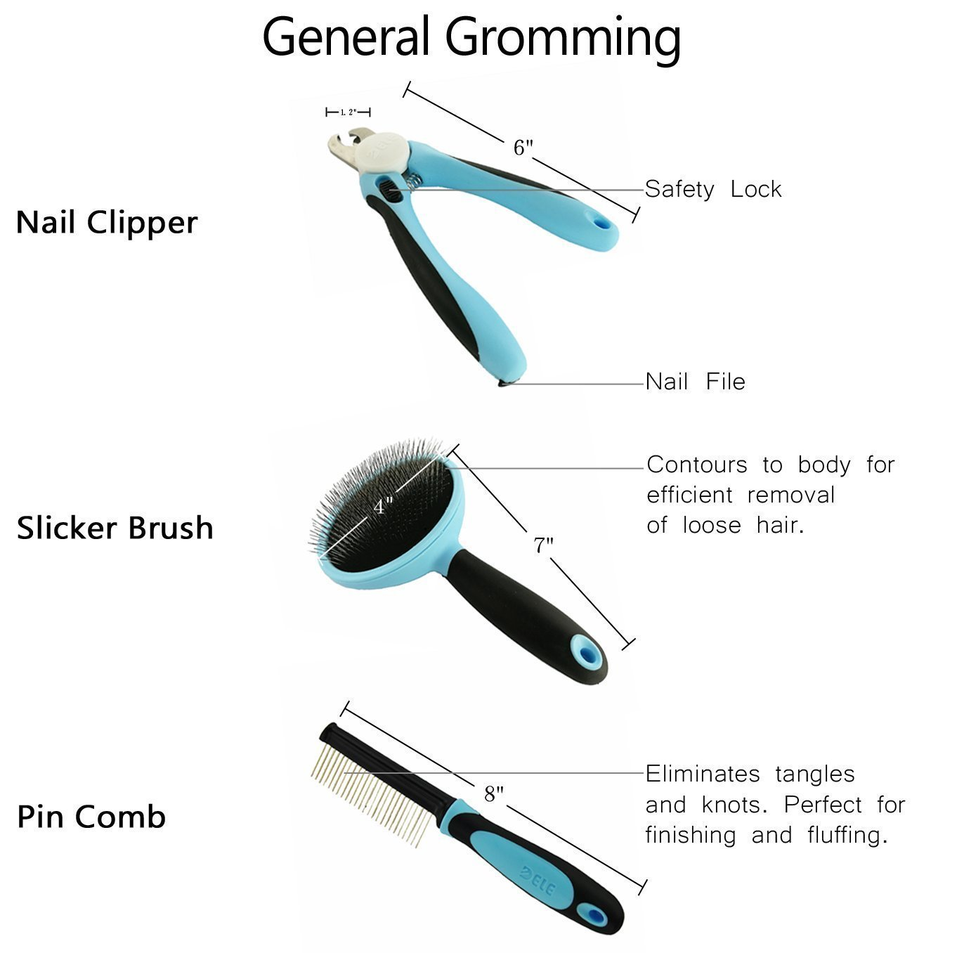 DELE Pet Grooming Tools Kit Including 5 Professional Tools,Pin Comb, Nail Clipper, Slicker Brush, Dematting Comb, 9.8 ft Retractable Dog Leash,Suitable For Medium/Small Pet Dogs or Cats (Blue)