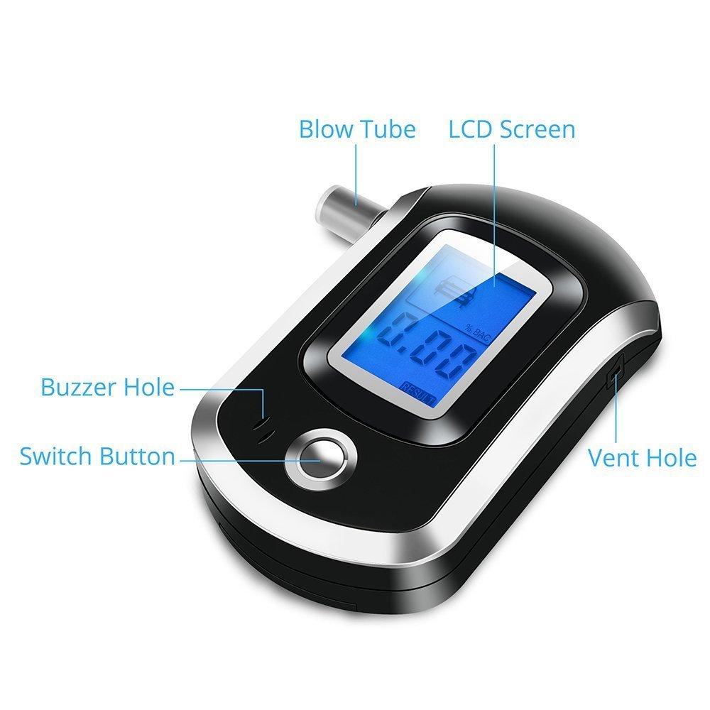 ANDE Alcol tester etilometro digitale analizzatore digitale con sensore semiconduttore grande display LCD