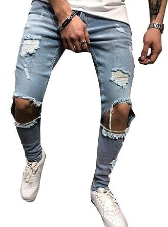 Tymhgt Pantalones Vaqueros Estilo Punk Para Hombre Ajustados Estilo Hip Hop Informales Estilo Rockero Azul Small Amazon Es Ropa Y Accesorios