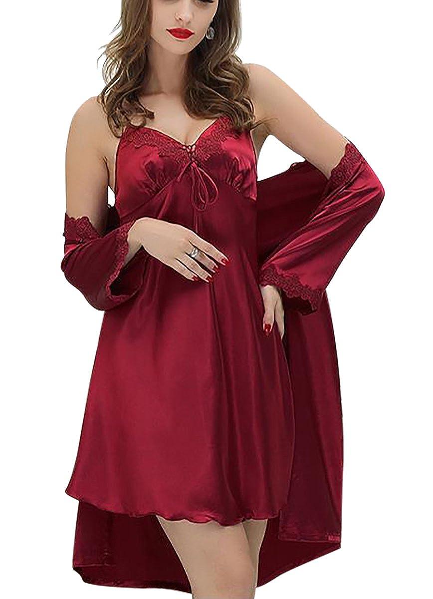 Aivtalk - Conjunto de Pijamas (Vestido+Bata) de Seda de Moda Ropa de Dormir Camisón 2 Piezas de Mujer