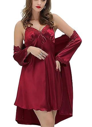 Aivtalk - Conjunto de Pijamas (Vestido+Bata) de Seda de Moda Ropa de Dormir Camisón 2 Piezas de Mujer: Amazon.es: Ropa y accesorios
