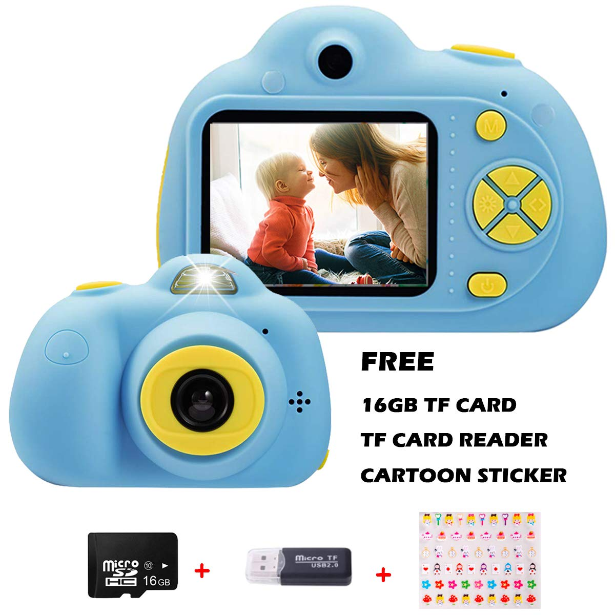 KIDOVE Kids Toys Fun Camera, Waterproof & Shockproof Child Selfie digital game Camcorder, 8MP 1080P dual camera Video Recorder, Creative Birthday Gifts for girls and boys, 16GB TF Card Included (Blue)