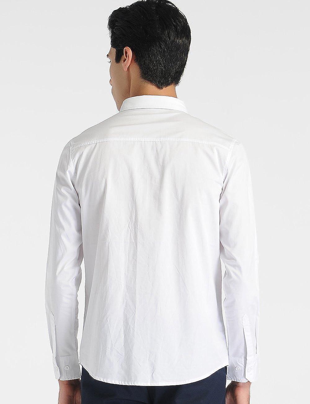 SSLR Men's Straight Fit White Laydown Collar Cotton Tuxedo Shirts SN-5T-YR0W-N6AL