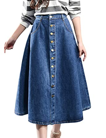 ba609101e Tanming Womens Plus Size High Waist Button Down Pleated A-Line Midi Denim  Skirt at Amazon Women's Clothing store: