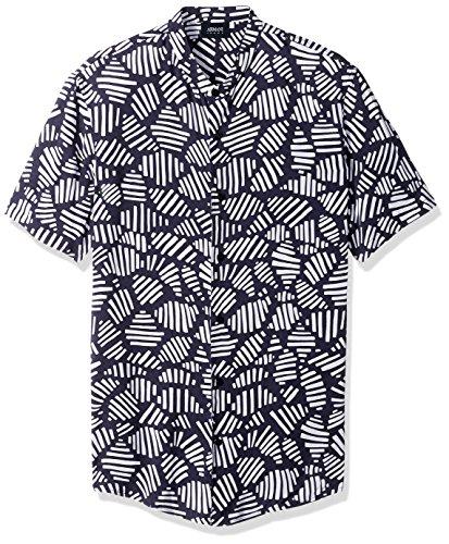 ARMANI JEANS Men's Slim Fit Printed Short Sleeve Button Down Shirt, Blue X-Large