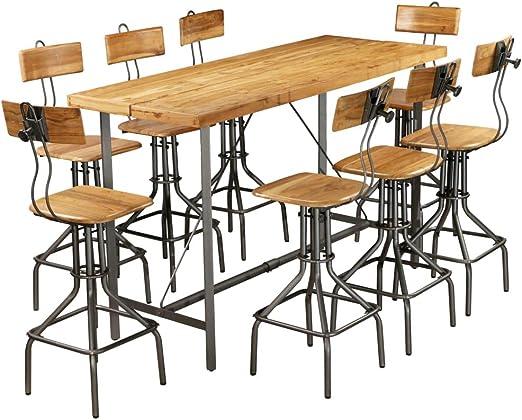 ROMELAREU Set Mesa y sillas de Bar Madera Teca Maciza reciclada 9 ...