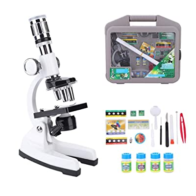 Kids Student Children Biological Microscope Kit LED 50X 100X 200X 400X 600X 1200x Magnifications and Full Optical Glass K9 Lens - Portable Beginner Toy Science kits with Accessory Set and Storage Case: Sports & Outdoors