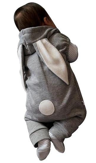 990e9281e2a4 Amazon.com  Newborn Baby Boy Girl Bunny Ear Zipper Warm Hooded ...