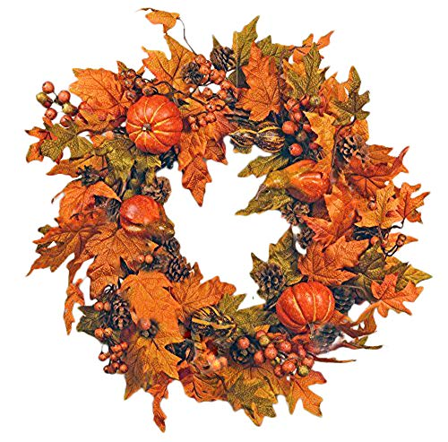 Festive Fall 26 inch with Leaves and Pumpkins Wreath Front door Decoration