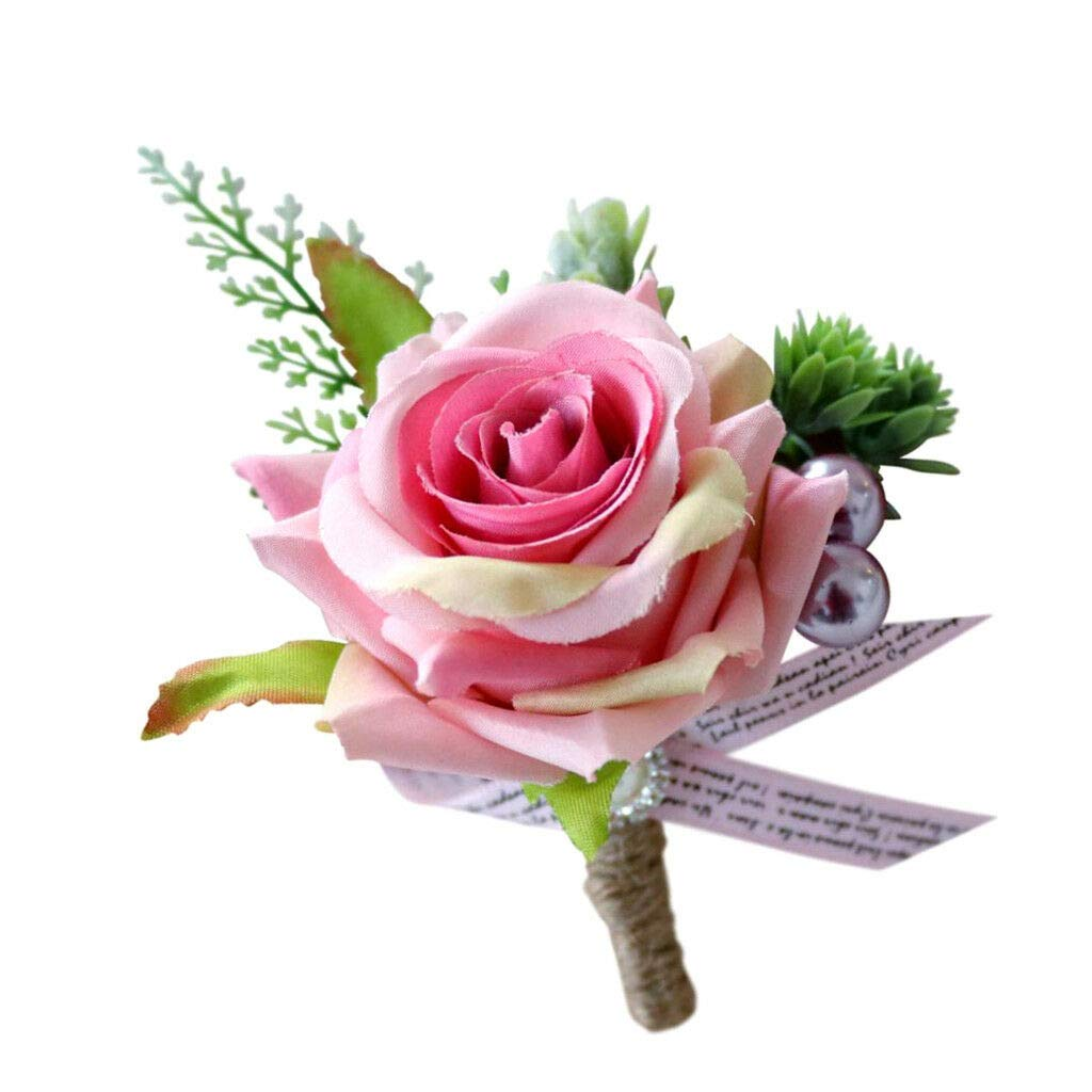 Amazon Com Romantic Corsage Flowers Boutonniere Silk Bridal Groom