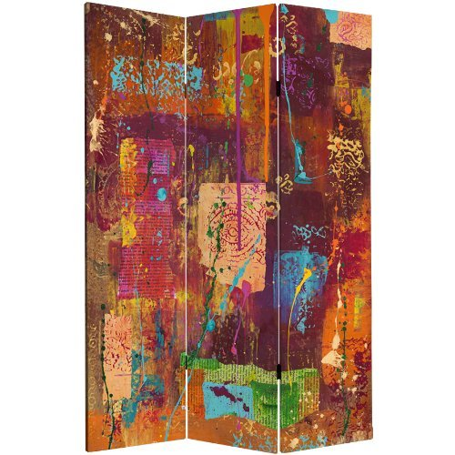 Oriental Furniture 6 ft. Tall India Double Sided Canvas Room Divider by ORIENTAL FURNITURE