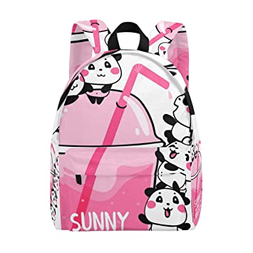 cee71d6f1342 Amazon.com | Pandas Pink Drink Kid Backpack Childrens' Twill Weave School  Bag Perfect for School or Travel | Kids' Backpacks