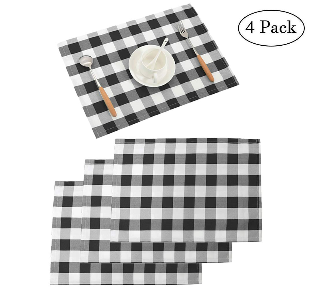 Nobildonna 18''x13'' Plaid Checkered Placemats,Black & White Checker, Quality Thin and Durable Placemats for Dining Table Set of 4 by Nobildonna