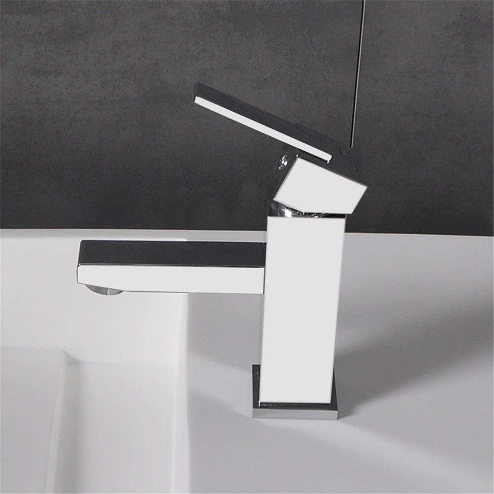 JingJingnet シンクミキサータップ浴室の台所の洗面器の水道水漏れ防止保存水ホットとコールドストレッチ単穴流域のミキサーメッキ滝型ウォータータップ銅 (Color : A) B07RXWMNSR A