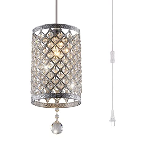 Surpars House Plug In Pendant Light Silver Crystal Chandelier With