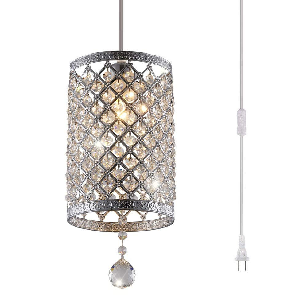 Surpars House Plug in Pendant Light Silver Crystal Chandelier with 17' Cord and On/off Switch in Line by Surpars House (Image #1)
