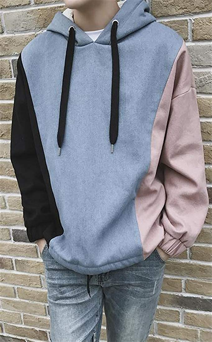 Joe Wenko Mens Thick Plus Size Drawstring Color Block Fleece Hooded Sweatshirt Pullover