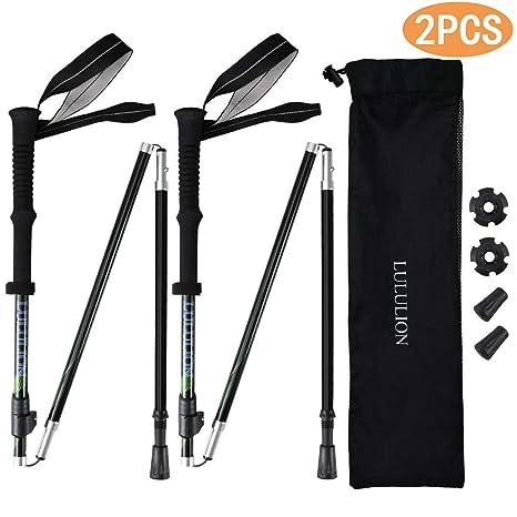 2//1x Carbon Fiber Outdoor Walking Stick Anti-Shock Telescopic Hiking Climb-Poles