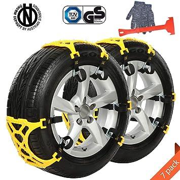 Ninonly Cadenas para Nieve 7PCS Anti Cadena de Engrosamiento de Emergencia Universal de Invierno para la mayoría de los Camiones SUV para automóviles (Ancho ...