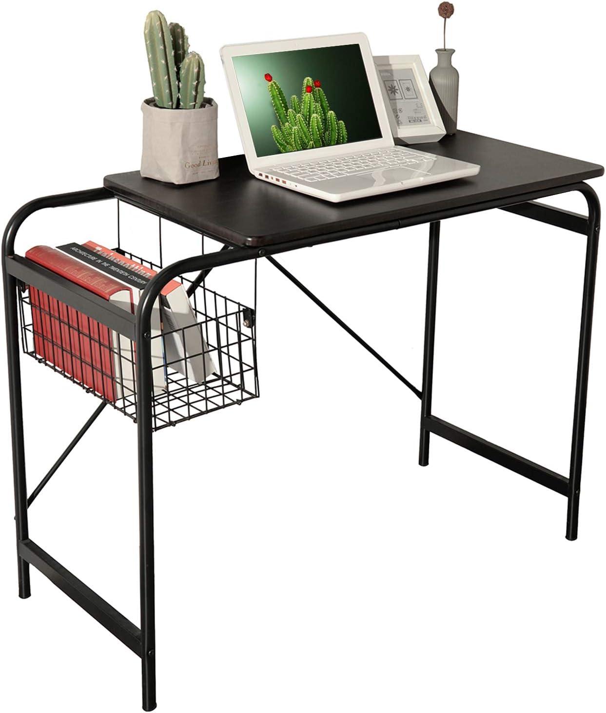 Computer Writing Desk with Metal Storage Basket Industrial Modern Simple Laptop Desk Wooden Study Workstation Space Saving Table Ideal for Home Office Dormitory Brown Desktop Black Fram