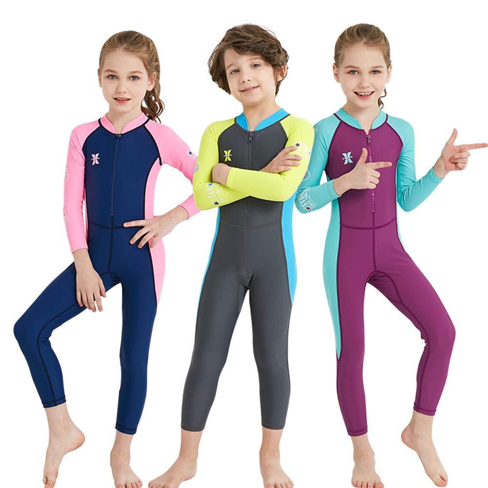 JOORUI Ragazzi Ragazze Muta da Sub Costume da Bagno Bambini Costumi da Bagno Manica Lunga Muta Protezione Solare UV 50