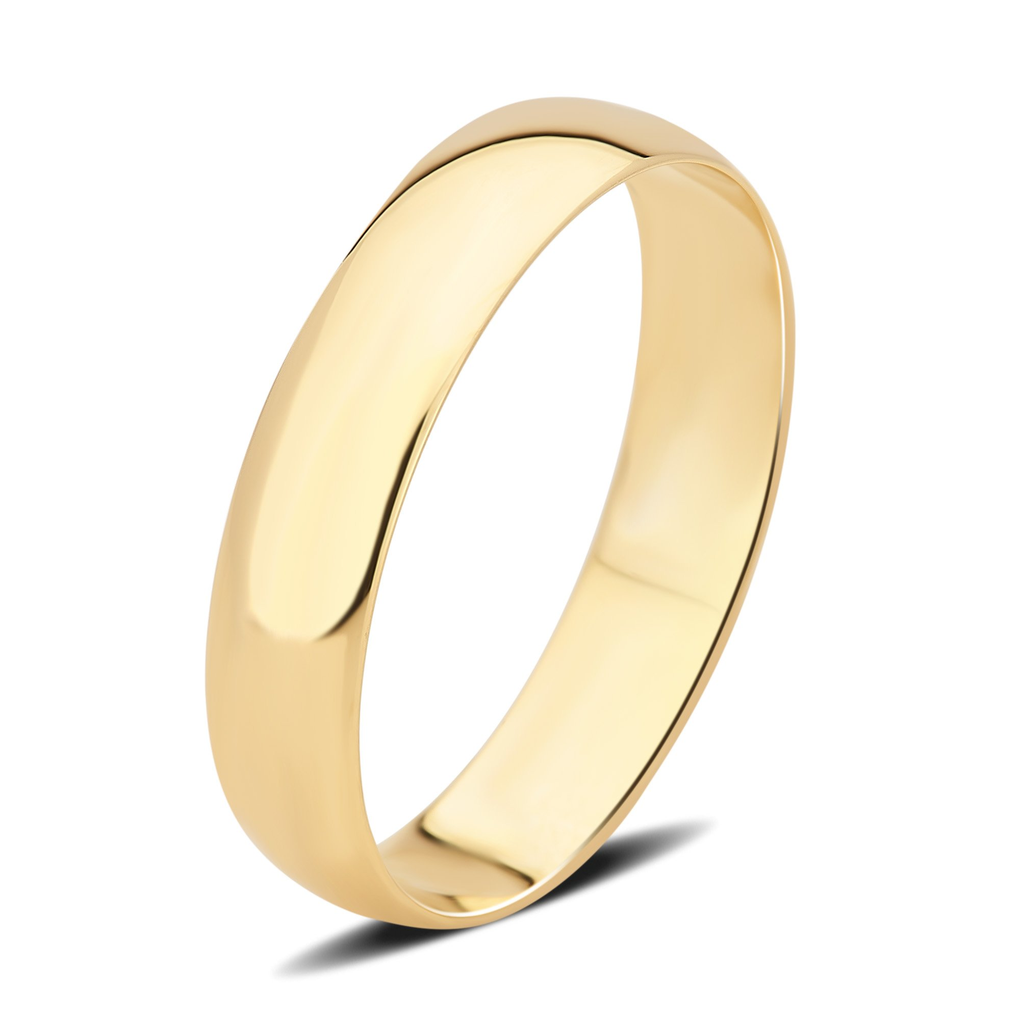 DiamondMuse 4 mm Plain Wedding Band in 10K Yellow Gold (9)