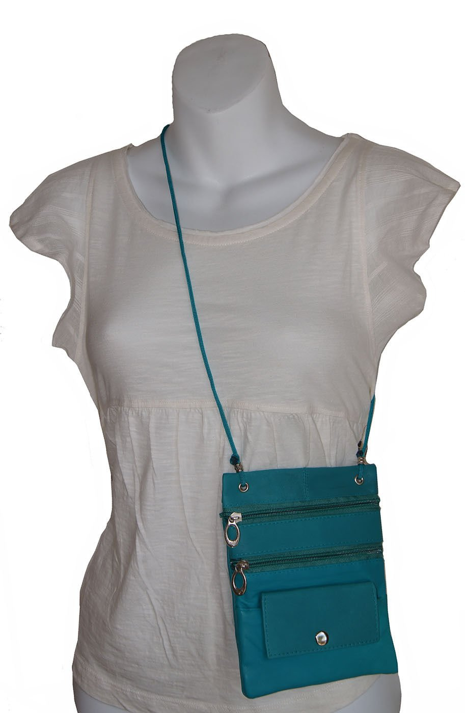 Turquoise Genuine Leather Passport Id Documents Holder Neck Travel Pouch Bag
