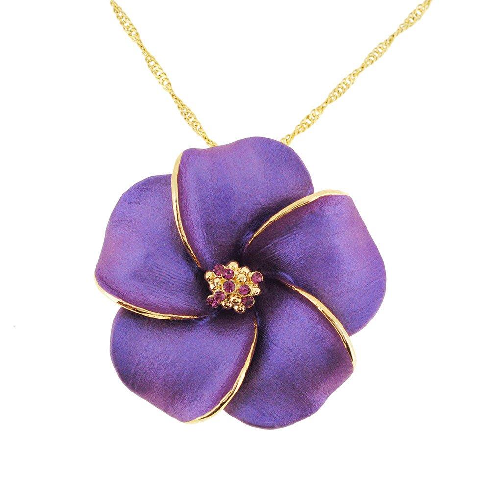 014f9d8bd32 Amazon.com: Fantasyard Dark Purple Hawaiian Plumeria Swarovski Crystal Flower  Brooch Pin and Pendant: Jewelry