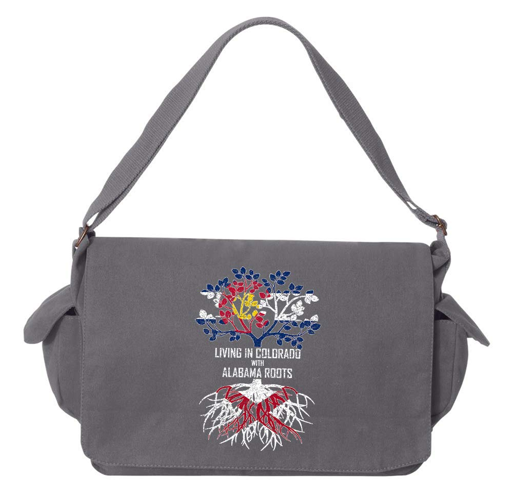 Tenacitee Living In Colorado with Alabama Roots Grey Brushed Canvas Messenger Bag
