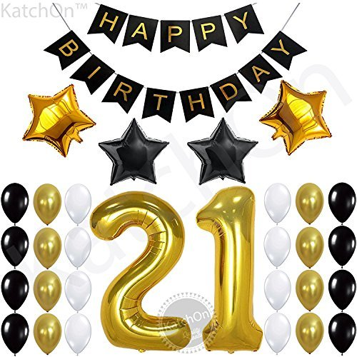 21st BIRTHDAY DECORATIONS PARTY SUPPLIES - 21st Birthday Balloons | 21 Balloons Number | 21st Birthday Banner, Black | 21 Birthday Gold and Black Balloons | 21 Years Old Party Supplies and Gifts