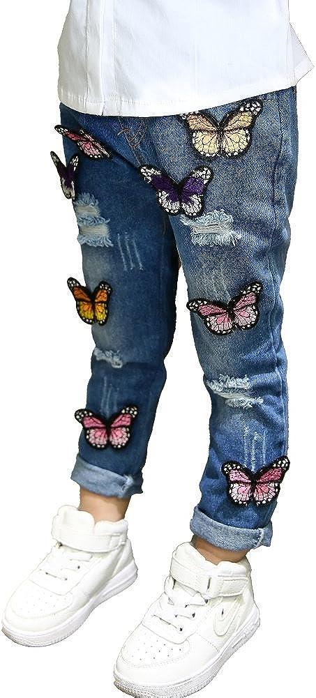 Loveble Girls Hole Jeans Butterfly Denim Pants Broken Hole Pants Trousers