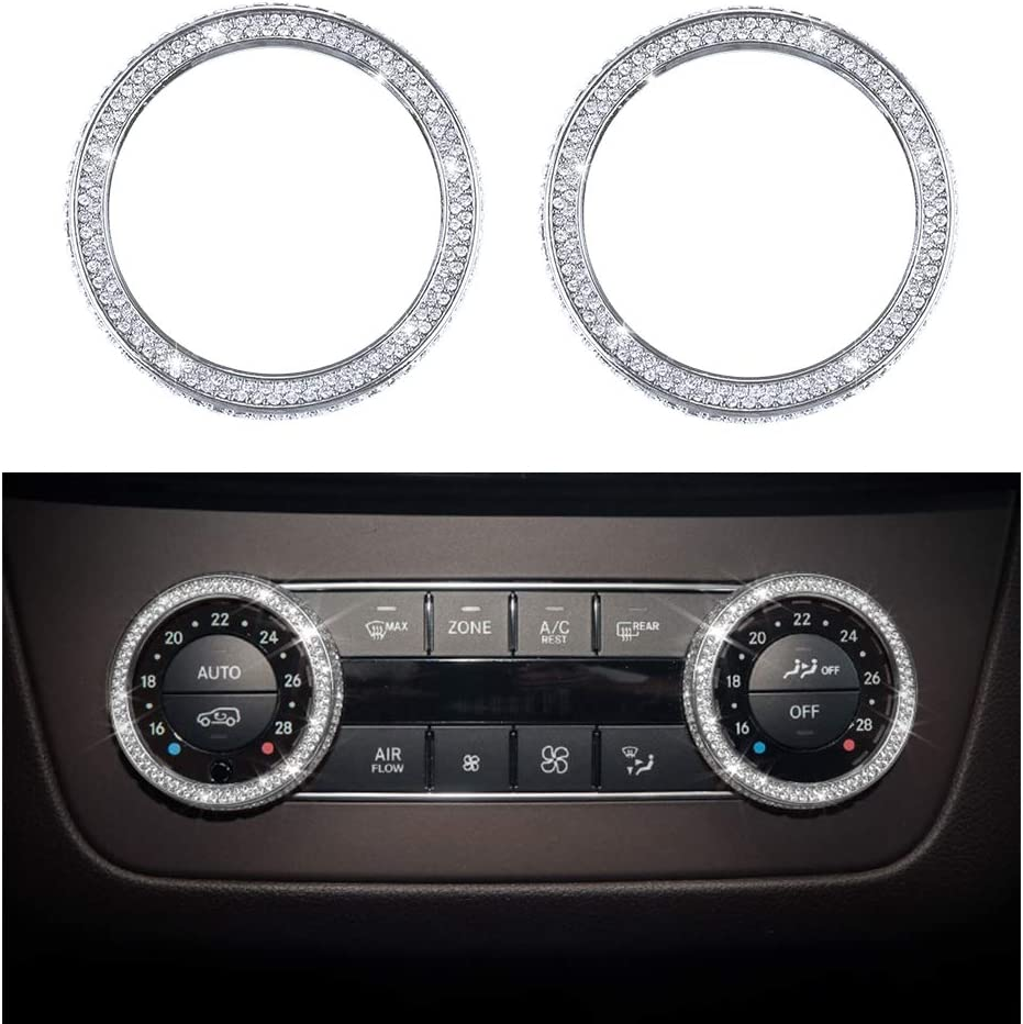 Vdark Zubehör Compatible With Mercedes Benz Parts Verkleidung Klimaanlage Regler Knopf Regler Kappen Abdeckung Innenblenden Dekorationen W204 X204 W166 X166 C Klasse Glk Amg Bling Kristall Silber Auto