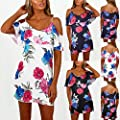 Scaling?Dress for Women, Women Holiday Floral Sun Dresses Ladies Off Shoulder Summer Beach Dress