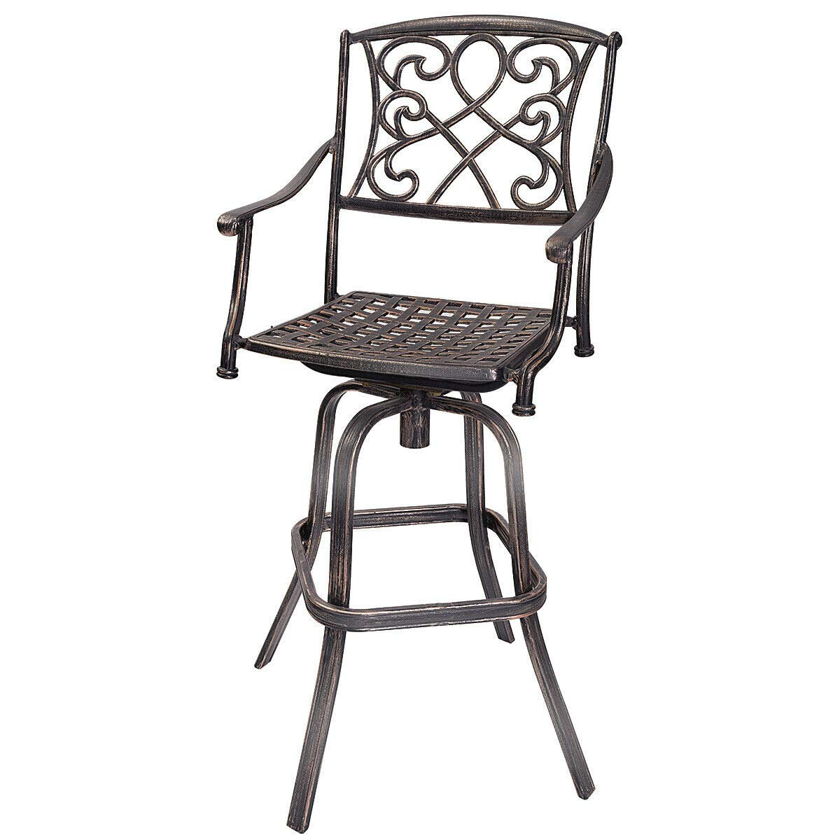 COSTWAY Bar Stool, Cast Aluminum Vintage Retro Design Patio Outdoor Garden Bistro Furniture Set (Copper Bar Stool) by COSTWAY