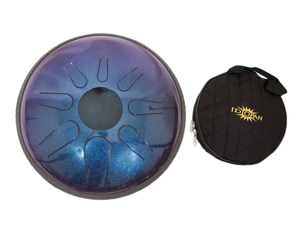 Idiopan Domina Steel Drum Package Includes: 12-inch Tunable Steel Tongue Drum - Sapphire Blue + Idiopan 12'' Standard Gig Bag