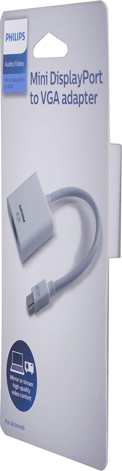Philips Mini DisplayPort to VGA Adapter, Unidirectional, Works with Projectors, Laptops, Tablets, Mac and PC Compatible, Fits Thunderbolt 1 and 2 Ports, Compact and Portable Design, White, SWS9200A/27