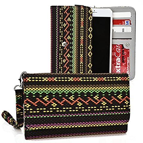 Kroo® Multi Tribal Black | Orange | Yellow | Pink | Green Smartphone Wallet with Bonus Wrist-let Fits Samsung Galaxy S6 | S6 Edge | Note 2 | Note 3 Neo | Note 4 | (Forros Para Zte Boost Mobile)
