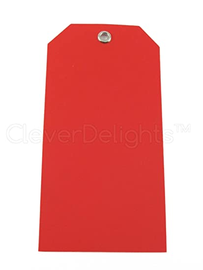 50 Pack - CleverDelights Red Plastic Tags - 4 75