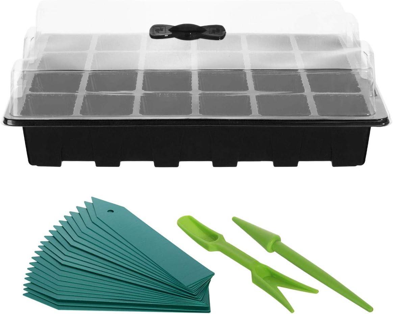 ANBET 5 Set de bandejas de cultivo de plantas//Bandeja de inicio de pl/ántulas fuertes Mini propagador con domo de humedad etiquetas de plantas y kit de herramientas manuales 24 celdas por bandeja