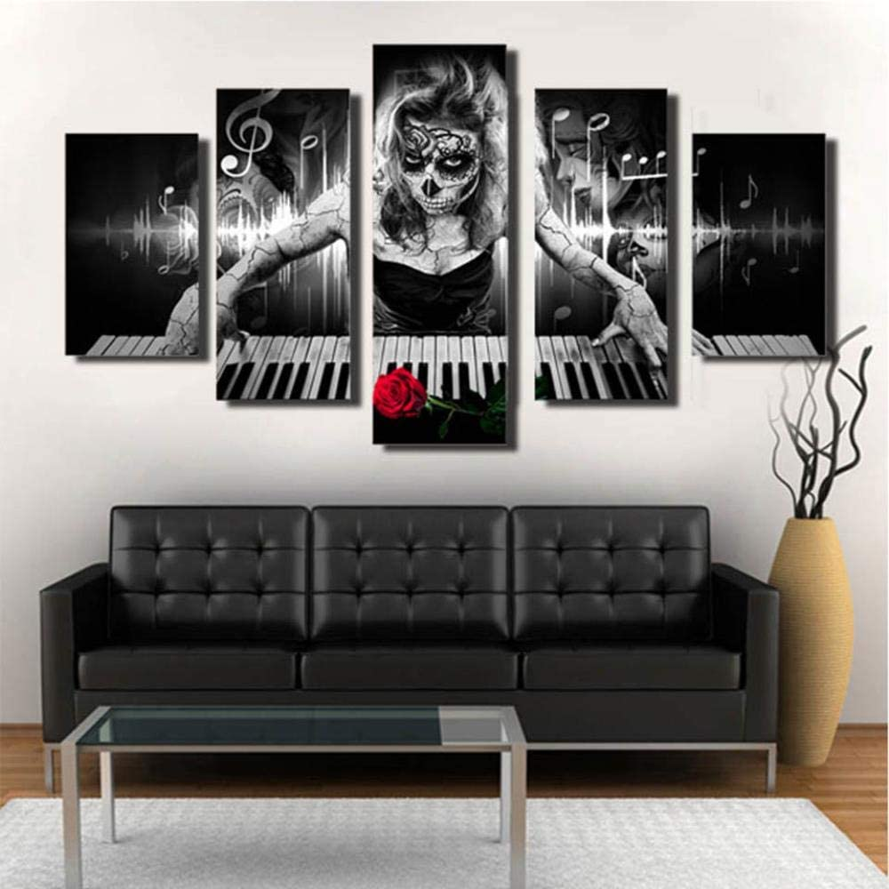 70cm*2 30 RuYun Wall Art Canvas Pictures HD Print 5 Pieces Day of The Dead Face Piano Music Skull Poster Living Room Decor PaintingNo Frame 30 60cm*2 30 90cm*