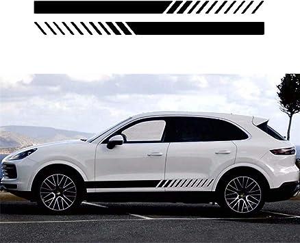 2Pcs Universal Sports Racing Stripe Stickers Car SUV Body Side Door Vinyl Decals