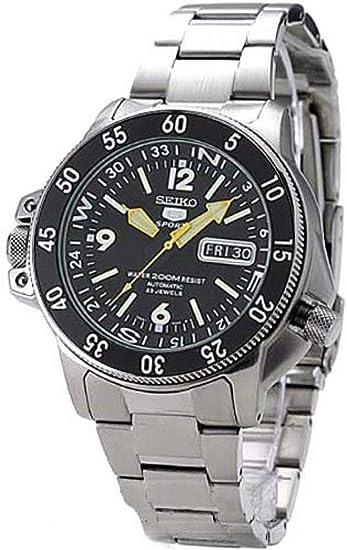 606264d6 SKZ211 Seiko 5 Deportes Automático Atlas Diver Amarillo Manos Negro Dial  Reloj: Seiko: Amazon.es: Relojes