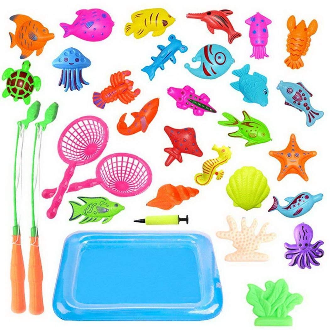 Etuoji 28 PCS Children Bath Toy Fishing Game Fishing Toys Set Education Pretend Play Fun