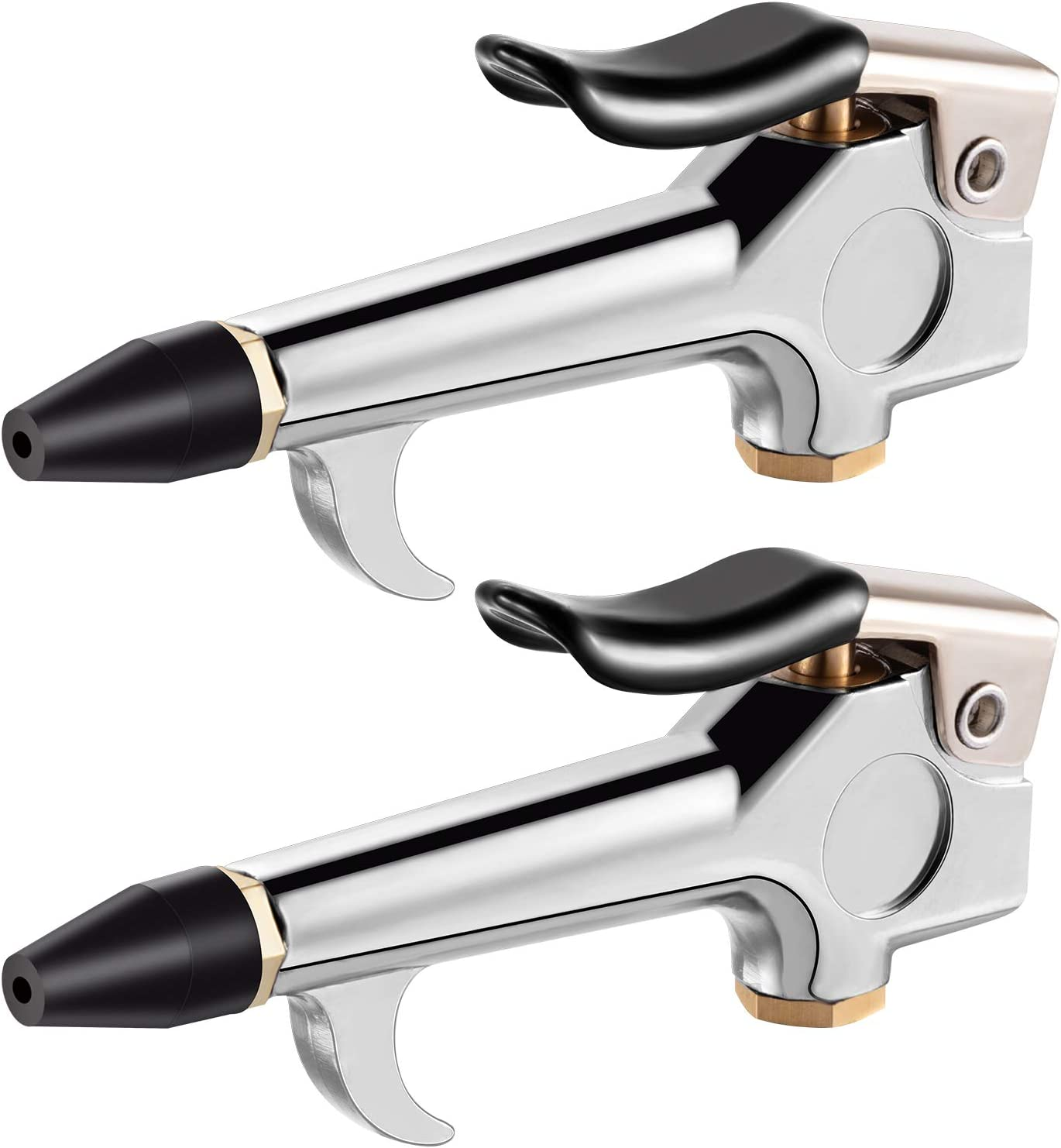 2 Pieces Lever Style Blow Gun with Rubber and Safety Tip Nozzles for Home Garage Shop Industrial