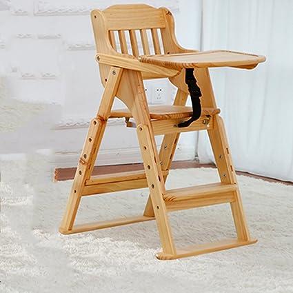 LJHA ertongcanyi Silla de comedor de madera maciza portátil ...